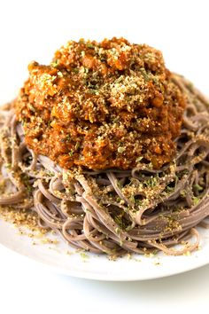 Best Bolognese pasta ever! I used soba noodles, which are made with buckwheat flour. The sauce is made with lentils and it tastes AWESOME.