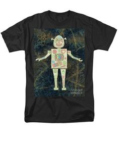 Groovy Men's T-Shirt (Regular Fit) featuring the painting Feeling Groovy Robot by Grigorios Moraitis