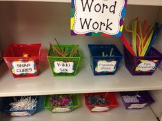 Simple word work that never needs to be changed out! Just fill bins with objects that students can use to build letters/words and read then to a friend.