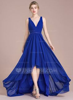 Corte A/Princesa Escote en V Asimétrico Gasa Vestido de baile de promoción con Volantes Cuentas Lentejuelas (018112650)