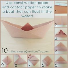 Directions to make an origami boat. Add contact paper for it to float in water. Add a few items from around the house to make an awesome pirate ship craft.