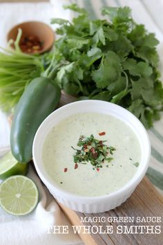 This Whole30 Green Magic Sauce from the Whole Smiths is paleo and Whole30 compliant.  via @thewholesmiths Paleo Whole 30, Whole 30 Recipes, Sauce Recipes, Paleo Recipes, Paleo Sauces, Paleo Ideas, Paleo Food, Free Recipes, Organic Almond Milk