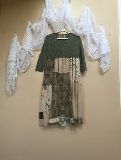 Upcycled Dress / Green Dress / Patchwork Dress / by Cathrineann