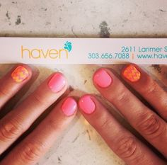 Spring zig-zag sorbet colored nails. Done at HAVEN Nail Salon in Denver, CO
