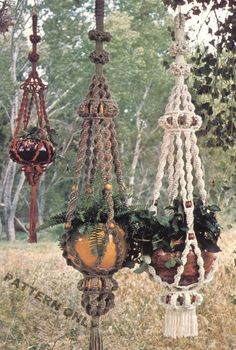 MAKE THESE VINTAGE MACRAME PLANT HANGERS - PATTERN ONLY