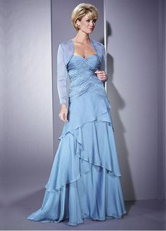 Gorgeous Chiffon A-line Strapless Sweetheart Neckline Full Length Mother Dress With Jacket