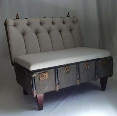 Suitcase Chair - Vintage trunk repurposed into a cushy chair! Repurposed Furniture, Diy Furniture, Suitcase Chair, Eclectic Chairs, Vintage Trunks, Sofa Upholstery, Upholstery Cleaning, Bedroom Themes, Diy Home Decor