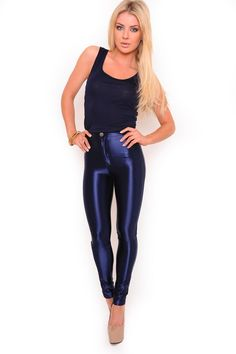 Cindy High Waisted Disco Pants in Electric Navy. These high waisted disco pants are on trend and an a cool edge to any outfit .Keep it more casual with some flats or team these leather look with our killer heels and team with one of our sexy tops for nights on the town. 95% Polyester 5% Elastane. Cold Hand Wash, Do Not Bleach, Do Not Tumble Dry, Cool Iron On Reverse, Dry Cleanable, Wash Dark Colours Separately. €25.00