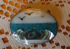 Handmade Mother of Pearl Turquoise Beach Scene Brooch Pin Pendant by BuddysBoutique on Etsy Vintage Brooches, Vintage Jewelry, Beach Scenes, Brooch Pin, Costume Jewelry, Turquoise, Pearls, Pendant, Fun