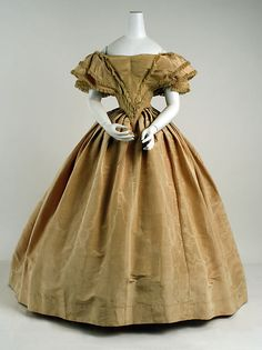 Evening dress Date: 1858–59 Culture: American Medium: silk Dimensions: (a) Length at CB: 12 in. (30.5 cm) (b) Length at CB: 45 in. (114.3 cm)