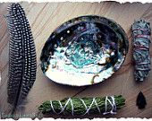 Smudge Kit~Pow Wow Traveler: White Sage//Cedar//SML Abalone Shell, Arrowhead, CA White Sage/Feather. Sacred Garden, Pow Wow, Wood Resin, Vintage Marketplace, Abalone Shell, Altar, Incense, Smudging, Sage