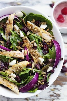 Kneader's cranberry sunflower salad recipe copycat! With turkey or chicken, sunflower seeds, raspberry poppyseed dressing, and mozzarella cheese!