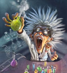 inspiration for character - scientist/mad scientist....would be cool as a photo backdrop with books in the beakers