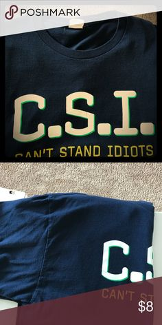Men's recreational tee Navy Blue C.S.I. Tee Shirt. This tee was worn probably 2x. Better than good condition Shirts Tees - Short Sleeve