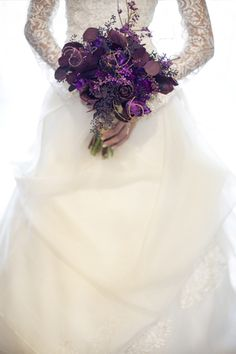 Elegant Winter Wedding Inspiration « Southern Weddings Magazine    Pretty purple flowers!