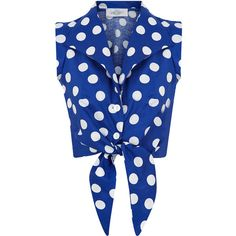 The Tie-front Shirt Blue with White Spots ($70) ❤ liked on Polyvore featuring tops, crop tops, tops unsorted, white button shirt, sleeveless shirts, white sleeveless top, white crop top and blue polka dot shirt