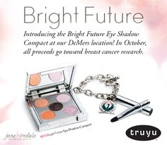 Introducing the Bright Future Eye Shadow Compact at our DeMers location! Treat yourself to this adorable mirrored compact featuring five shades, along with a travel-sized eye shadow brush for on-the-go application and touch ups. In October, all proceeds go toward breast cancer research.