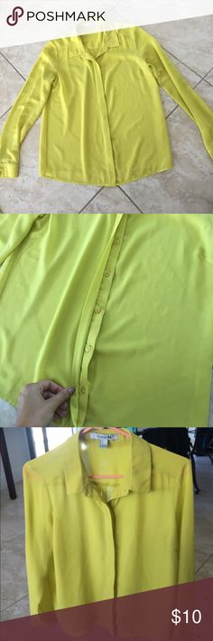 Neon Yellow / Green button down collared Blouse Neon green/yellow, button down, collared, button sleeves, semi-sheer, Blouse Forever 21 Tops Blouses