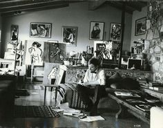 Chuck Jones in his home on Tareco Drive, Los Angeles (Hollywood Hills) circa early 1960s.