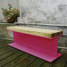Pink steel beam island/console