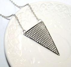 Triangle Arrow Geometric Necklace Silver Modern by AngelPearls