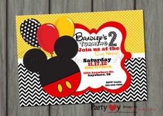 Boy Mickey Mouse Inspired Birthday Invitation Printable On Etsy 800 Baby Shower