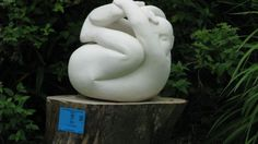 French Limestone by Patrick Barker titled: 'In a tangle (Fun Curled up Man Stone garden statues)'. Abstract Sculpture, Sculpture Art, Garden Sculpture, Stone Garden Statues, Art Of Man, Sculptures For Sale, Amazing Gardens, Contemporary, Modern