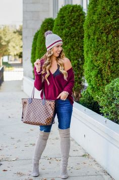 burgundy wrap top express burgundy sweater levis distressed jeans bp burgundy beanie fall fashion fall outfit fashion blogger fall outfit inspiration the best of fall outfits casual fall outfit gray over the knee boots stuart weitzman over the knee boot