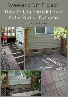 """How to lay a brick paver patio pad or pathway, using the """"cheat method"""" only good for small spaces."""