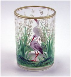 Antique Bohemian enamelled glass and hand painted beaker with birds In landscape poss. by Moser, 19th Cent.
