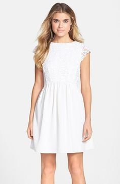 Free shipping and returns on French Connection 'Maui' Embroidered Mesh Bodice Fit & Flare Dress at Nordstrom.com. Tonal embroidery brings tiny blossoms to life on the sweet cap-sleeve bodice atop this delightful fit-and-flare dress.