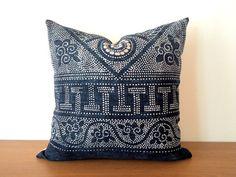 "18""x 18"" Vintage Chinese Indigo Batik Pillow Cover, HMONG Batik Indigo Pillow Case, Boho Throw Pillow, Ethnic Costume Textile Cushion Cover"