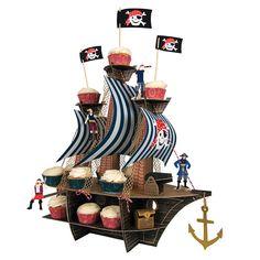 Centro de mesa para fiesta de cumpleaños barco pirata cupcake