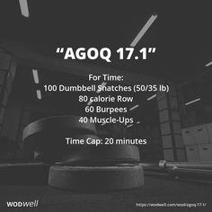"""""""AGOQ 17.1"""" WOD - For Time: 100 Dumbbell Snatches (50/35 lb); 80 calorie Row; 60 Burpees; 40 Muscle-Ups; Time Cap: 20 minutes"""