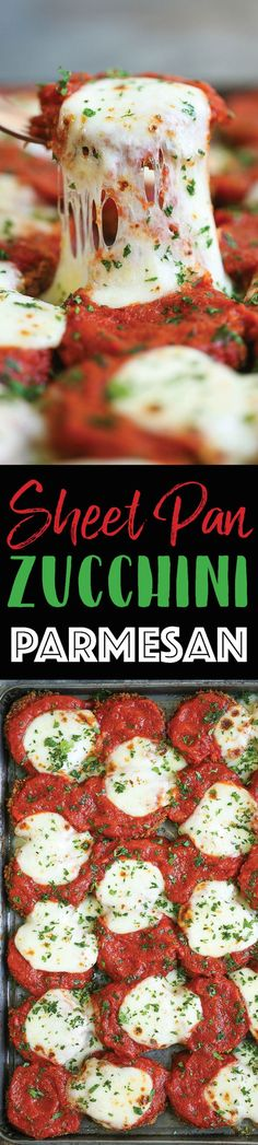 Sheet Pan Zucchini Parmesan - Everyone's favorite chicken parmesan except made HEALTHIER! Use zucchini instead baked to perfection with marinara and cheese!