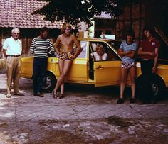 """Besides funky fashion, the 70s had many beautiful things to offer. For example this bright yellow Volkswagen K 70. Its large window surface was a characteristic that gave the car an elegant note. A brochure from 1971 describes the K 70 as """"a car of distinct taste, whose style expresses a clear and modern character."""" This picture was taken in 1974 near Wolfsburg, Germany."""