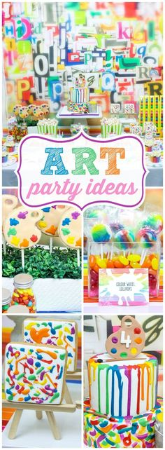 Check out this fantastic colorful art birthday party! See more party ideas. 6th Birthday Parties, Birthday Fun, Birthday Design, Birthday Ideas, Art Birthday Cake, Artist Birthday, Girls Birthday Party Themes, Kids Party Themes, 11th Birthday