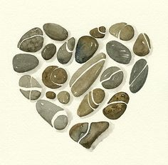 heart of stones - watercolour Emily loves stones, perhaps I could find some pretty stones and make some into a heart like this for her birthday present...