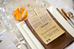 Awesome menu design - perfect for fall wedding or party