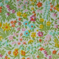 vintage sheet fabric fat quarter wildflower thicket by sosovintage, $2.50