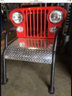 chaise fait avec un avant de Jeep. - Cool Welding Project Ideas for Home Car Part Furniture, Automotive Furniture, Automotive Decor, Furniture Design, Modern Furniture, Metal Projects, Metal Crafts, Diy Projects, Project Ideas