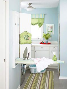 I want a wall mounted ironing board like this plus outlet & shelf for the iron