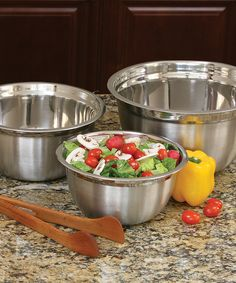 Excelsteel Stainless Steel Three-Piece Mixing Bowl Set by Excelsteel #zulily #zulilyfinds