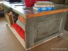 Turn salvaged doors into a rustic coffee table with bonus storage space.