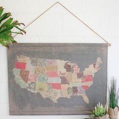 USA Calico Canvas Map 1