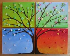 Four Seasons Button Tree Wall Art - Busted Button Easy Canvas Painting, Simple Acrylic Paintings, Easy Paintings, Canvas Art, Canvas Paintings, Tree Canvas, Canvas Ideas, Diy Canvas, Acrylic Canvas