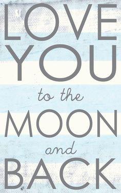 Boy Nursery Print, Love you to the moon, Boy Nursery Home Decor, Nursery Art, art print on wood by Jennifer McCully