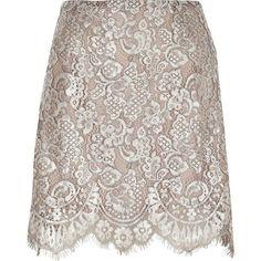 River Island Silver metallic lace mini skirt (18.095 HUF) ❤ liked on Polyvore featuring skirts, mini skirts, metallic, silver, women, brown skirt, short brown skirt, brown mini skirt, lace mini skirt and floral skirt