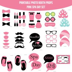 39 Best Spa Party Images Printable Photo Booth Props Photo Booth