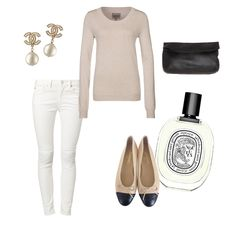 flats: CHANEL | jeans: WHYRED | sweater: ZALANDO ESSENTIAL | earrings: CHANEL | clutch: V AVE SHOE REPAIR | fragrance: DIPTYQUE Lately, I'm really into white jeans and beiges, so perfect for summer...